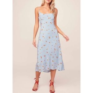 Astr the Label Blue Floral Print Midi Dress